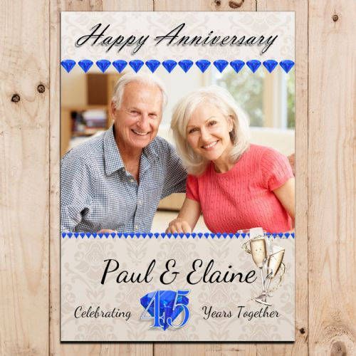 Personalised 45th Sapphire Wedding Anniversary Party PHOTO Banner Poster N97